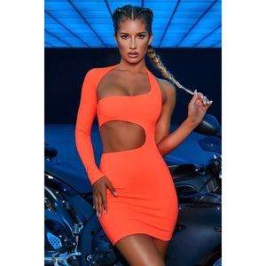 Orange Cut Out Asymmetrical Dress